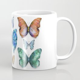 Butterfly Taxidermy // Beautiful Mandala Detailed Wings Design // Lime Green, Bright Blue, Gold Coffee Mug