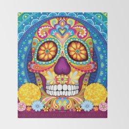 Sugar Skull Art (Incandescent) Throw Blanket