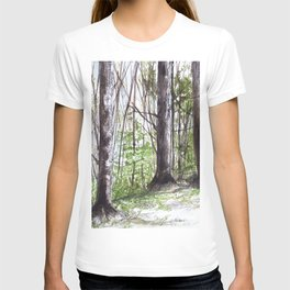 Woodland Trees in Vermont Illustration Nature Art T-shirt