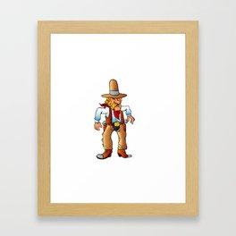 cowboy in duel cartoon Framed Art Print