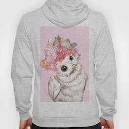 Snowy Owl with Flowers Crown Hoody