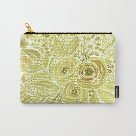 Watercolor . Yellow green bouquet . Carry-All Pouch