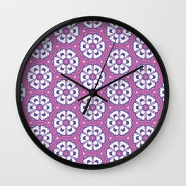 Purple geometric floral pattern Wall Clock