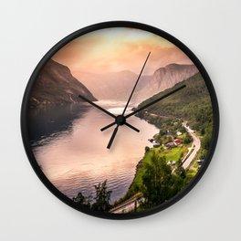 Fjord at sunset Wall Clock