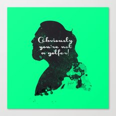 Not a golfer! – The Big Lebowski Silhouette Quote Canvas Print