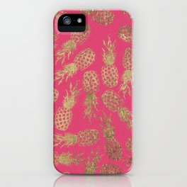 Tropical neon pink faux gold pineapple fruit pattern iPhone Case