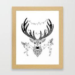Reindeer with birds for christmas Framed Art Print