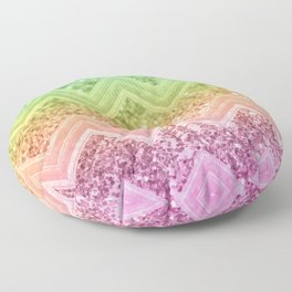 Rainbow Glitter Chevron #1 #shiny #decor #art #society6 Floor Pillow