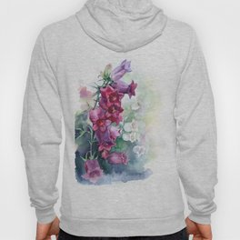 Campanula watercolor flowers aquarelle bellflowers Hoody