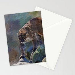 The Mountain King - Cougar Wildlife Art Stationery Cards