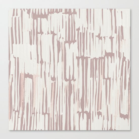 Simply Bamboo Brushstroke Lunar Gray on Clay Pink Canvas Print