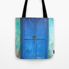 Blue Indian Door Tote Bag