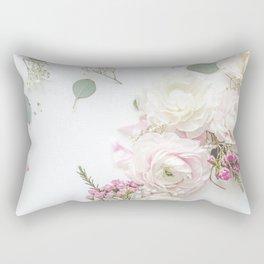 SPRING FLOWERS WHITE & PINK Rectangular Pillow