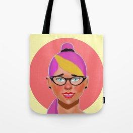 Purple hair girl Tote Bag