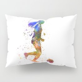 Girl playing soccer football player silhouette Pillow Sham