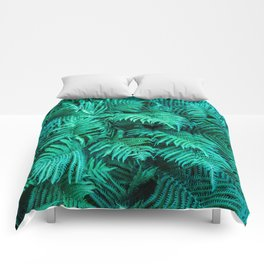 Fern Photography | Emerald | Turquoise |Tropical Leaves | Art Print Comforters