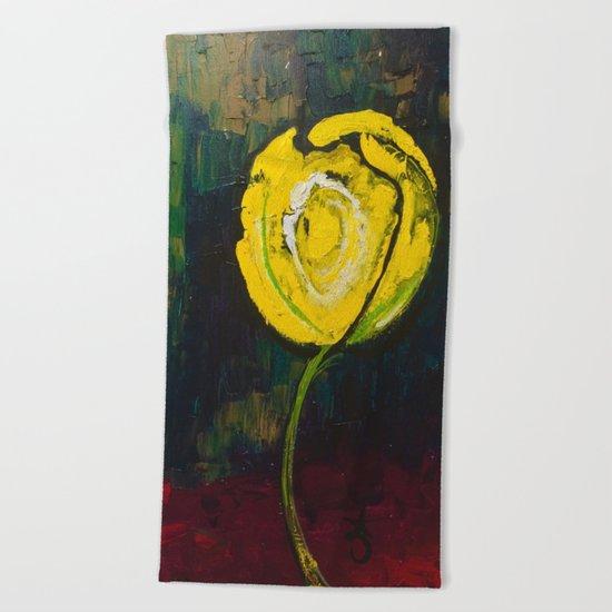Golden Yellow Rose Acrylic Beach Towel