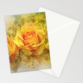 Watercolor Yellow Roses | High Quality On Stretched Canvas Stationery Cards