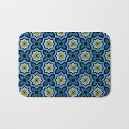 V6 Blue Traditional Moroccan Natural Leather - A4 Bath Mat