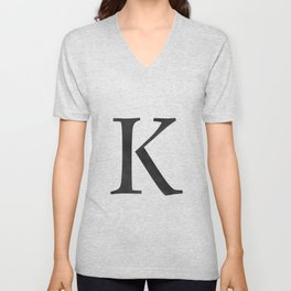 Letter K Initial Monogram Black and White Unisex V-Neck