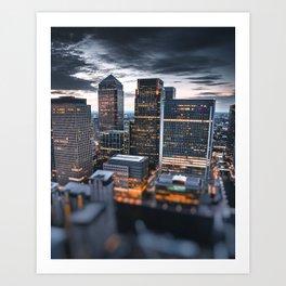 london canary wharf at dusk Art Print