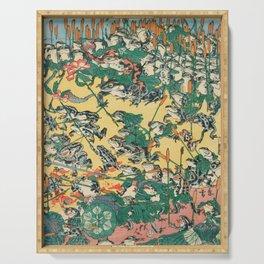Frog Battle Japanese Print by Kawanabe Kyosai, 1864 Serving Tray