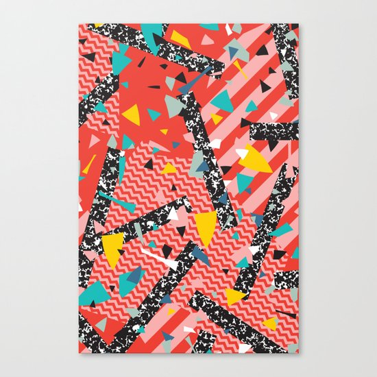 Modern Memphis Milan Inspired Primary Color Geometric Stripe Design Red Confetti 80s Party Canvas Print