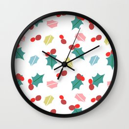 cute mistletoe white Wall Clock
