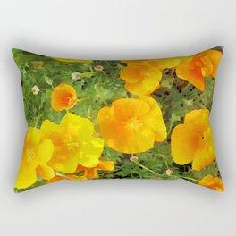 Poppies Watercolor Rectangular Pillow