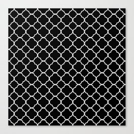 Clover Quatrefoil Pattern: Black & White Canvas Print
