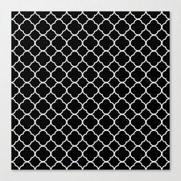 Clover Quatrefoil Pattern: Black & White Canvas Print