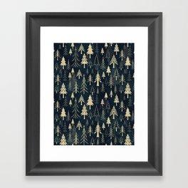 Christmas tree forest in gold Framed Art Print