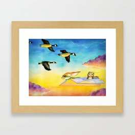 Herbert the Owl Considers Parachutes Framed Art Print