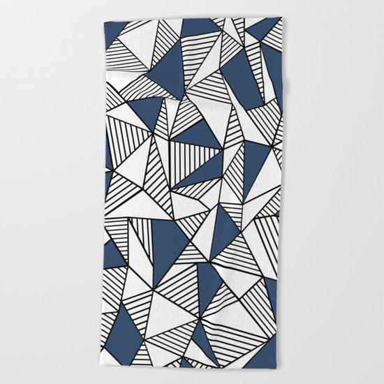 Abstraction Lines with Navy Blocks Beach Towel