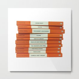Penguin Book Stack Metal Print