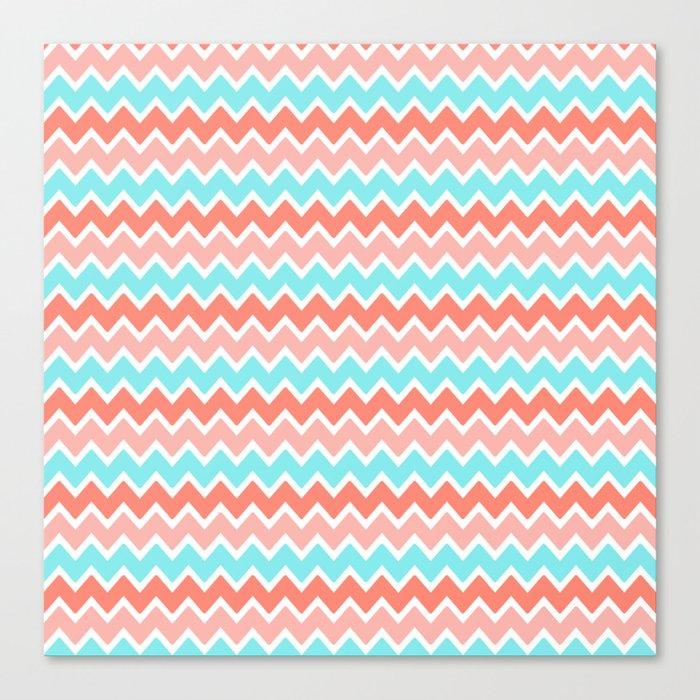 Coral Peach Pink and Aqua Turquoise Blue Chevron Canvas Print