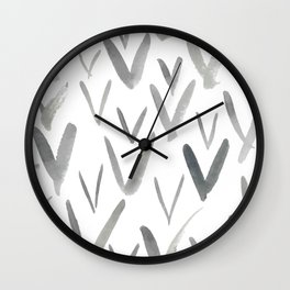 Watercolor V's - Grey Gray Wall Clock