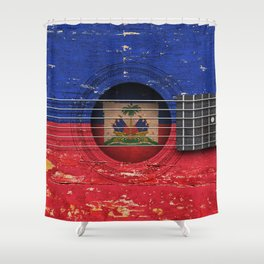 Old Vintage Acoustic Guitar with Haitian Flag Shower Curtain