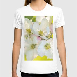 Close-up of Apple tree flowers on a vivid green background - Summer atmosphere T-shirt