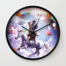Laser Eyes Space Cat On Llama Unicorn - Rainbow Wall Clock