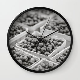 Blueberries in Black and White Wall Clock