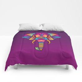 Elephant   Geometric Colorful Low Poly Animal Set Comforters