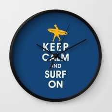 Keep Calm and Surf On (Surfer Boy) Wall Clock