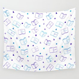 Classic Book Doodles Purple & Blue Wall Tapestry