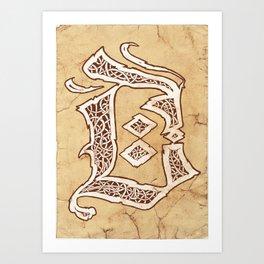 Letter D (Franktur, gothic, blackletter style) Art Print
