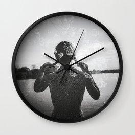 Cherry Blossom Girl Double Exposure - Black and White Holga Photograph Wall Clock