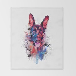 Drippy Jazzy German Shepherd Colorful Dog Art by Jai Johnson Throw Blanket