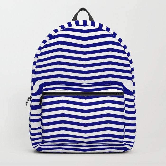 Australian Flag Blue and White Wavy Chevron Stripe Backpack
