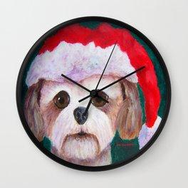 Christmas Shih Tzu By Annie Zeno Wall Clock