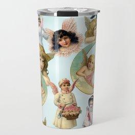 Vintage Angels on High Original Collage Travel Mug